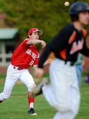 Susquehannock's Sammy Miller throws out a Northeastern player during an April game. Miller was one of five YAIAA players named to the Big 26 Baseball Classic roster. (GameTimePA.com -- File)