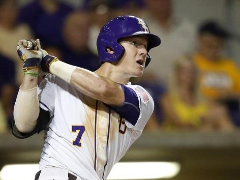 LSU's Greg Deichmann drove in two runs in Tuesday's game.