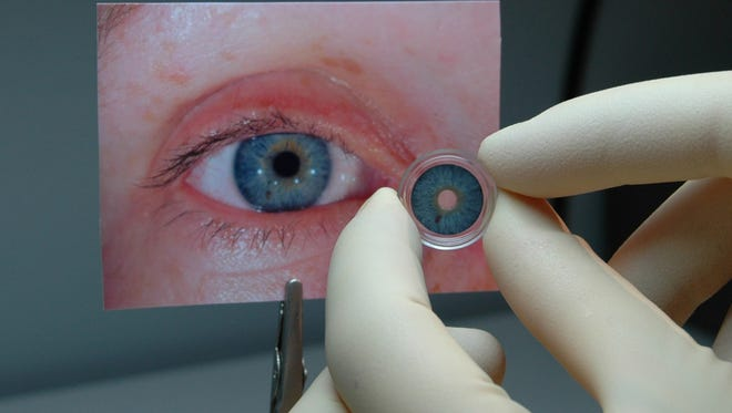 The FDA has approved the first artificial iris for the U.S. In this image, a similar iris made by a German company is shown.