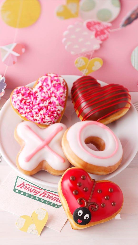 Krispy Kreme wears its heart on a plate for Valentine's Day.