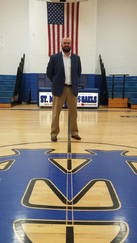 Mike Coyne, 37, was introduced as new head football coach at St. Mary on Wednesday. Coyne leaves after two seasons as head coach Pal Park/Leonia.