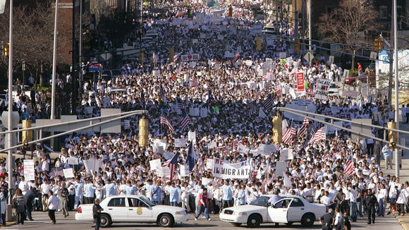 This 2006 protest in downtown Indianapolis was among