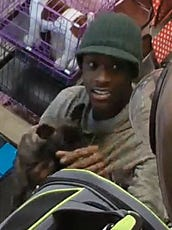 The male suspect holding a puppy.