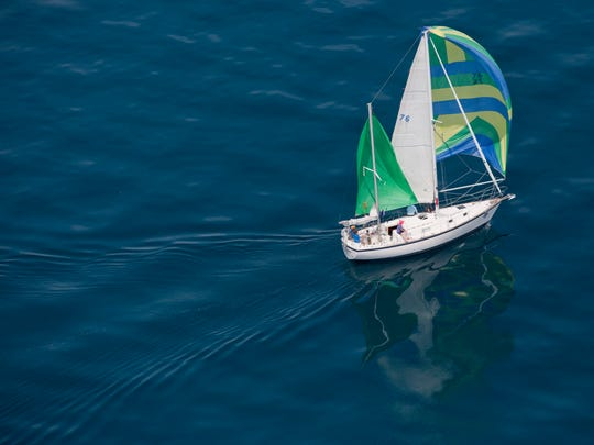 Perception, of Kean's Yacht Club, competes in Class Q during the start of the Port Huron-to-Mackinac Island sailboat race Saturday, July 18, 2015 on Lake Huron.