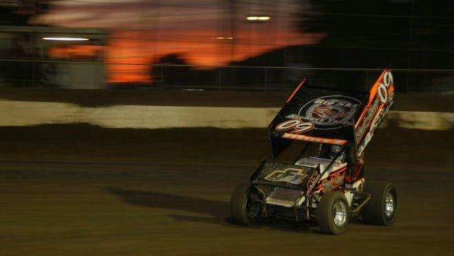 Craig Mintz wins the 410 feature Saturday Night at Fremont Speedway.