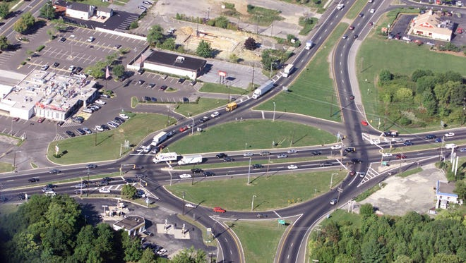 Aerial photo of the now former Rt. 73/70 circle, where Olga's Diner served as a landmark for decades.