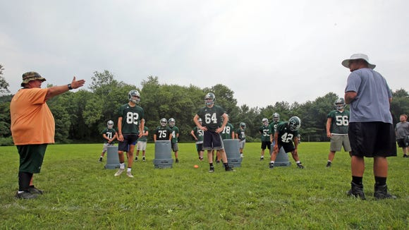 The second day of Pleasantville football camp at Parkway
