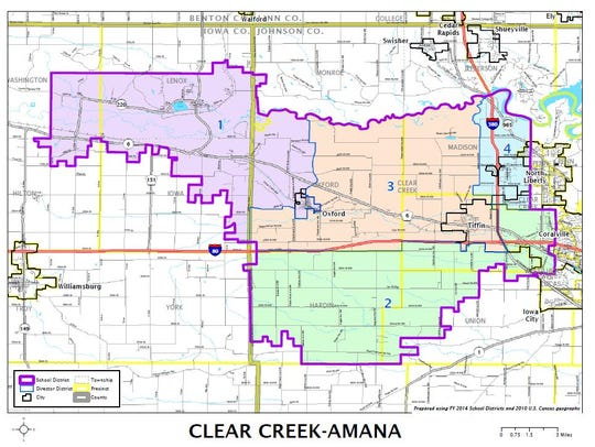 Map of the Clear Creek Amana School District, by districts.