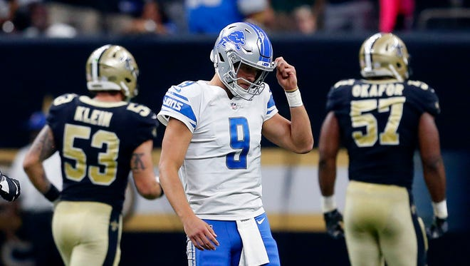 Lions quarterback Matthew Stafford reacts after fumbling against the Saints in the first half in New Orleans, Sunday, Oct. 15, 2017.