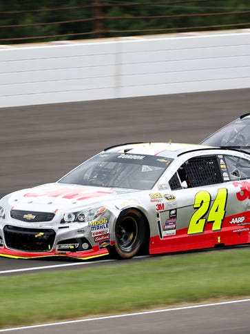 NASCAR Sprint Cup Series driver Jeff Gordon (24) races