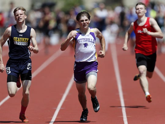 Mac Stahl, of Ozaukee, races Chris Snook, of Pittsville, during the Division 3 400-meter dash at the WIAA Track and Field Championships Friday, June 2, 2017, at Veterans Memorial Field Sports Complex, in La Crosse.