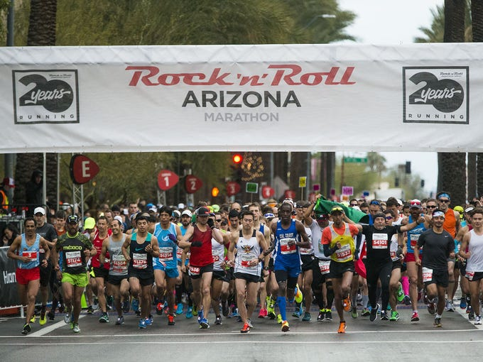 Runners start the 14th Rock 'n' Roll Arizona Marathon