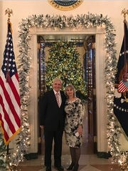 Steve Rogers, New Jersey Trump-Pence 2020 chairman and a Nutley commissioner, and his wife, Natasha, attend a Christmas party held by President Donald Trump at the White House in December 2017.