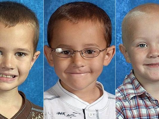 From left, brothers Andrew, Alexander and Tanner Skelton were last seen Friday at 2:30 p.m. with Joann Taylor, a woman