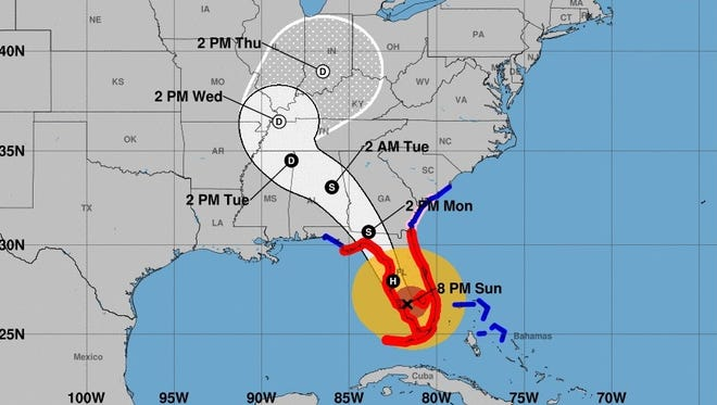 This map provided by the National Hurricane Center shows the projected track of Hurricane Irma as of midday on Sunday, Sept. 10, 2017.