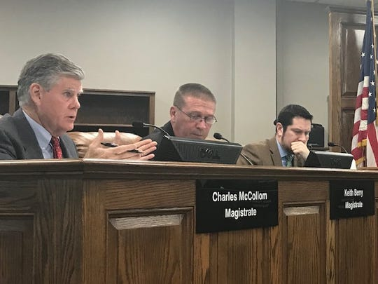 Magistrate Charlie McCollom discusses his reservations about a proposed budget increase for the Henderson County Sheriff's Office.