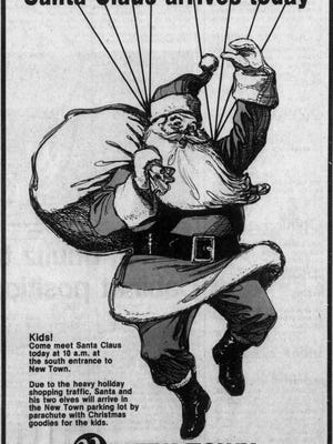 An advertisement about Santa's plans for a visit to Sioux Falls on Nov. 29, 1980.