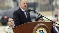 Wisconsin Attorney General Brad Schimel speaks during the Greater Milwaukee Law Enforcement Memorial ceremony on May 11 at Clas Park outside the Milwaukee County Courthouse.