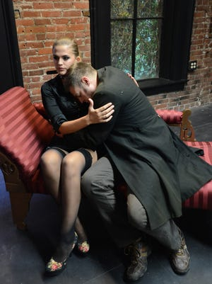 "Felix Monet and David Ballantyne rehearse a scene for the Verona Studio's production of ""Venus in Fur"" opening Thursday at at the Reed Opera House in downtown Salem."
