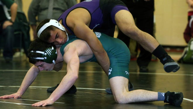 NJSIAA Region Five wrestling tournament quarterfinal round held at Hunterdon Central Field House in Flemington on Friday February 26, 2016.