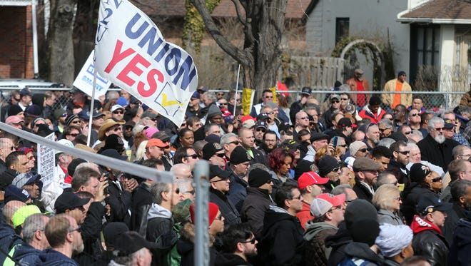 NJ Transit unions members, along with legislators and activists hold a rally at Tanzman Park in Woodbridge a week before 4000 plus rail workers are set to go on strike if new contracts are not signed.