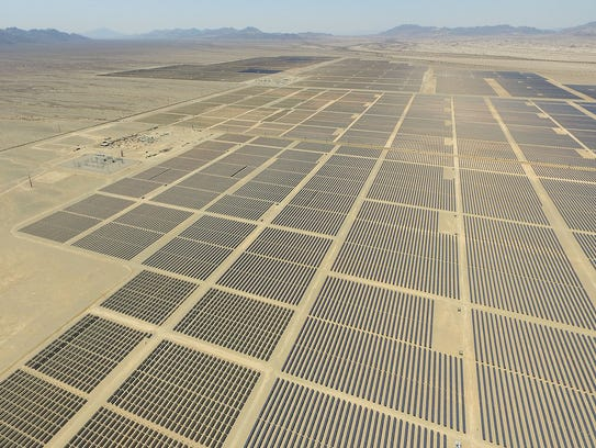 Solar panels soak up the sun at the Blythe and McCoy solar projects in eastern Riverside County.