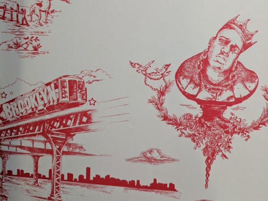 A detail of the Notorious B.I.G. wallpaper in Brody's
