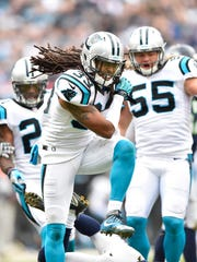 Jan 17, 2016; Charlotte, NC, USA; Carolina Panthers free safety Tre Boston (33) reacts in a NFC Divisional round playoff game at Bank of America Stadium.