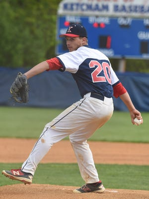Ketcham's Tyler Viscusi winds up a pitch during Thursday's game against John Jay.