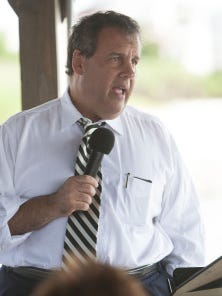 Gov. Chris Christie talks about pension reform during town hall meeting on Long Beach Island.