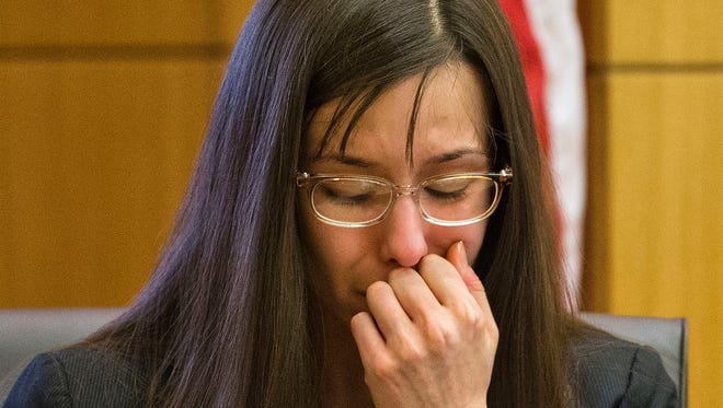 Jodi Arias breaks down in 2013 after being grilled by prosecutor Juan Martinez during cross examination in her murder trial.