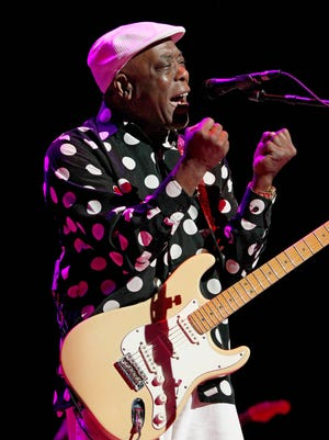 "Blues legend Buddy Guy opens with "" Damn Right, I've Got the Blues"" during his headlining show at the Xerox Rochester International Jazz Festival Thursday, June 26, 2014."