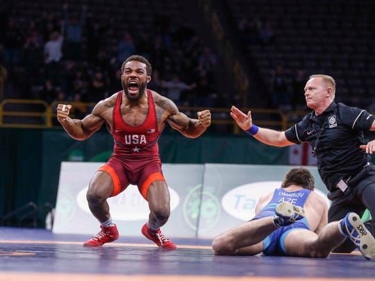 Jordan Burroughs helped Team USA to a 6-4 gold medal win over Azerbaijan with a pin over Gasjimurad Omarov during the freestyle wrestling World Cup in Iowa City on Sunday, April 8, 2018.