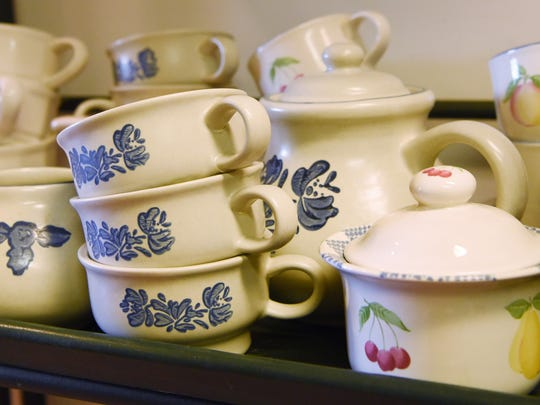 Some teapots and cups for sale at Pass It On 2 in Pine Plains.