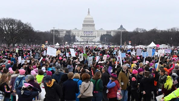 A general view of crowds gathered on the mall in front