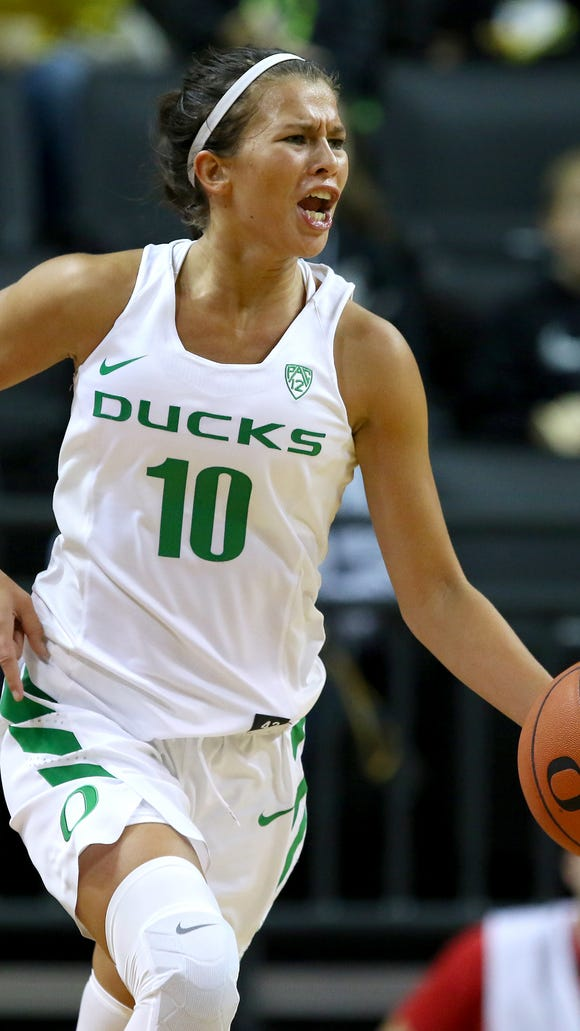 Oregon guard Lexi Bando (10) brings the ball up court against Warner Pacific during an exhibition game inside Matthew Knight Arena, Wednesday, November 11, 2015, at the University of Oregon in Eugene, Ore.
