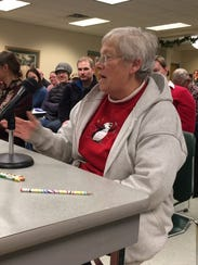De Pere resident Diane Goffard speaks about the proposed