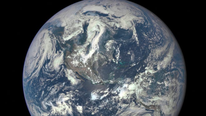 A full image of Earth, as captured aboard the DSCVR satellite earlier this month.