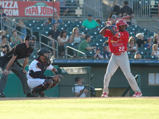 Randy Arozarena hits in a Florida State League game