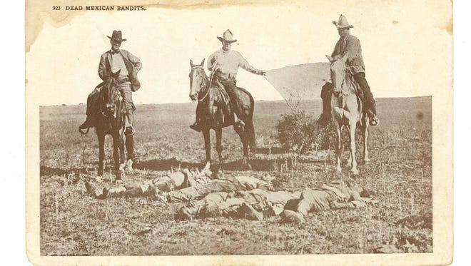 "A 1915 postcard titled ""Dead Mexican Bandits"" shows three Texas Rangers on horseback, gazing at the bodies of four Tejanos killed apparently at random as a reprisal for an earlier raid."