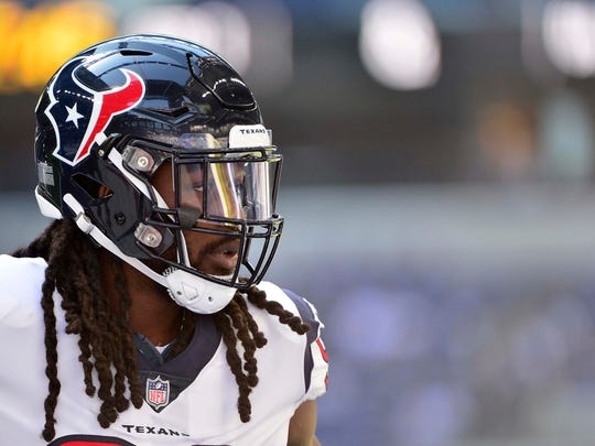 Sep 30, 2018; Indianapolis, IN, USA; Houston Texans linebacker Jadeveon Clowney (90) warms up prior to a game against the Indianapolis Colts at Lucas Oil Stadium. Mandatory Credit: Jeff Curry-USA TODAY Sports