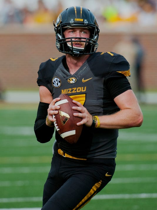 Missouri quarterback Maty Mauk prepares to throw a pass during the second quarter of an NCAA college football game against Indiana, Saturday, Sept. 20, 2014, in Columbia, Mo. (AP Photo/L.G. Patterson)