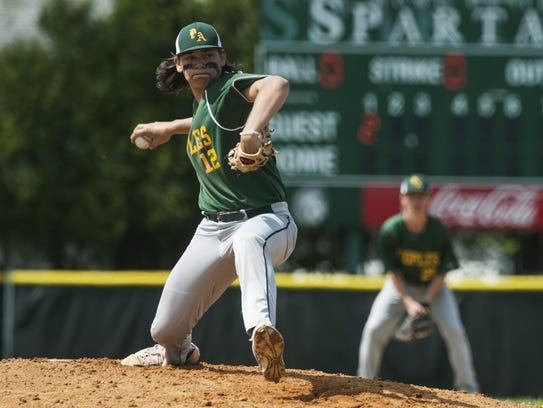 Peoples' pitcher Cam Kelly delivers a pitch during