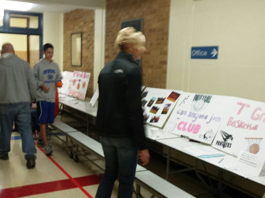 South Park Middle School groups promoted school clubs  with Club Night during parent-teacher conferences.