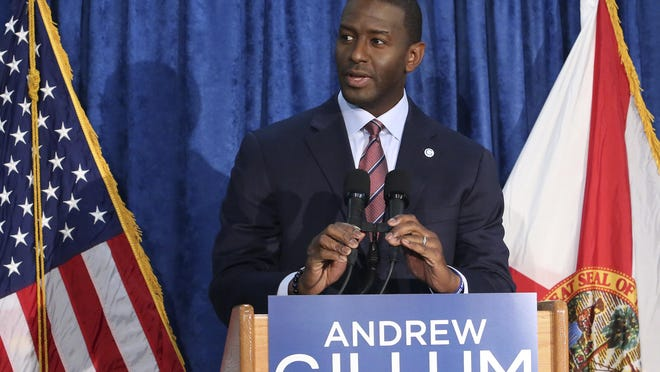 Andrew Gillum the Democrat candidate for governor speaks at a news conference on Saturday, Nov. 10, 2018, in Tallahassee, Fla.