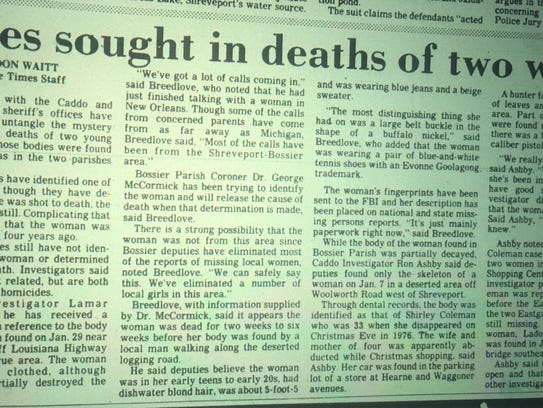 Article about Carol Ann Cole's death in The Times,