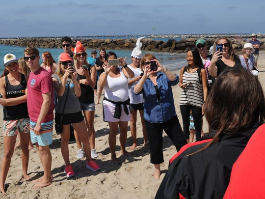 Friends and family members photograph Rachel Horn after her swim Saturday.