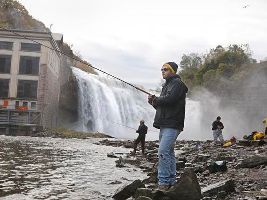 Rochester 39 s lower falls an angler 39 s paradise for Fishing rochester ny