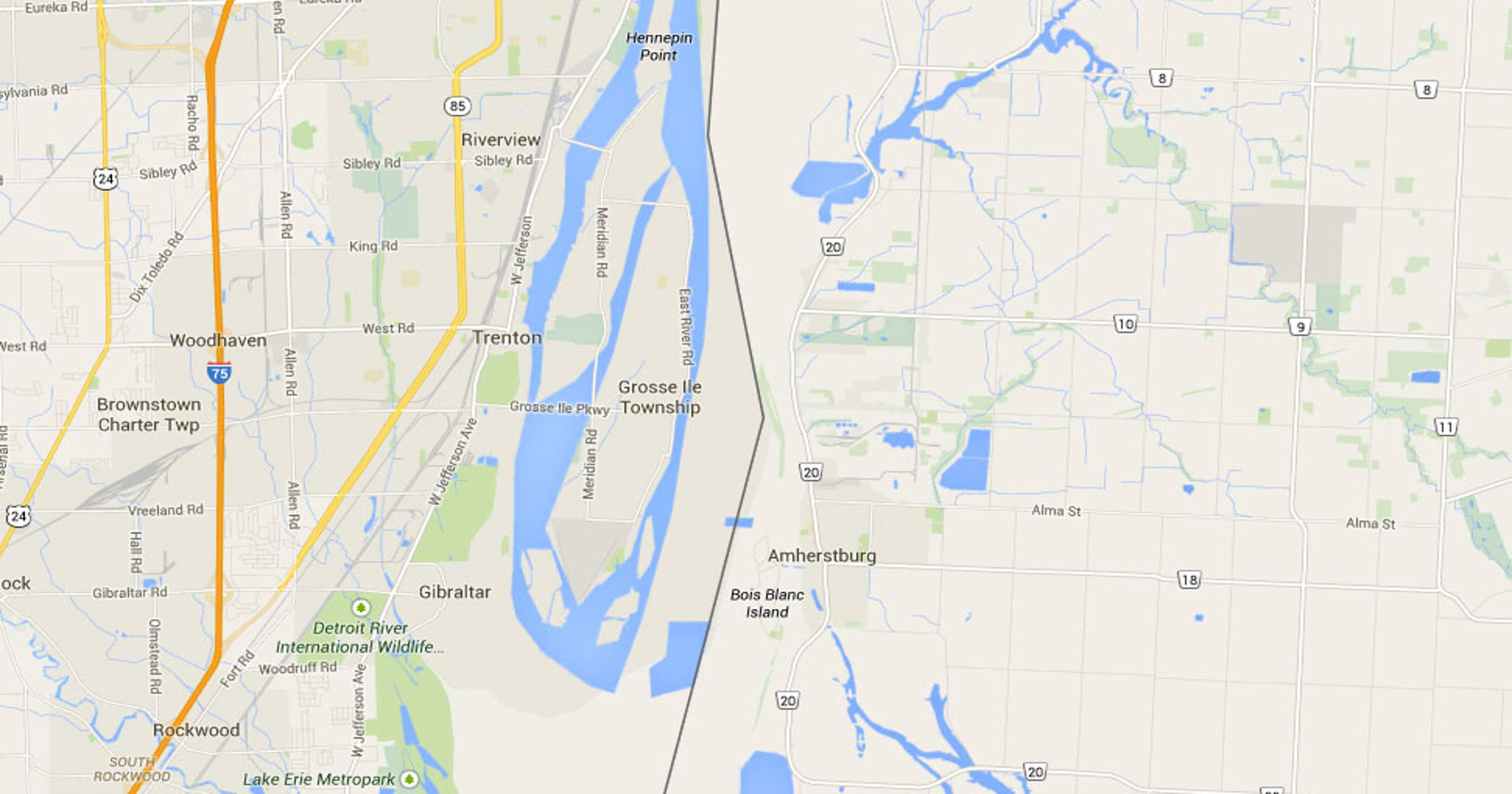 Google Maps Shows Land Bridge From Downriver To Canada