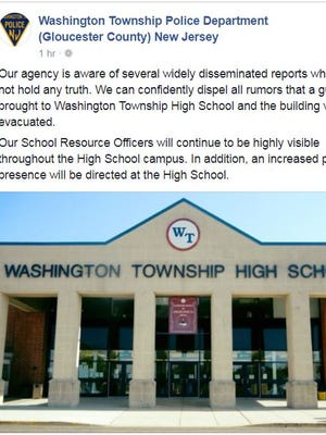 Washington Township Police note a gun was not brought to the high school and the school was not evacuated after a confrontation this week.